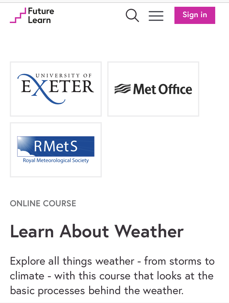"""Review: FutureLearn's """"Learn About The Weather"""""""